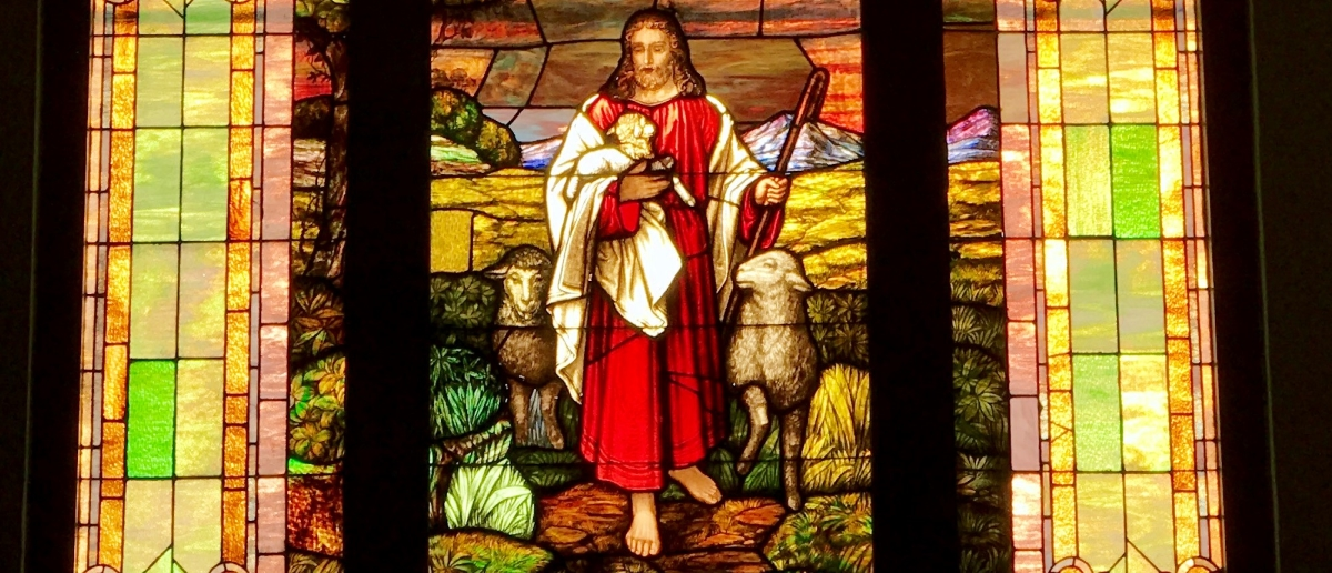 Stained glass showing Jesus as Shepherd at Cumberland First Baptist Church
